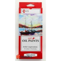 Набор масляных красок, Santi Studio 12мл*12шт.