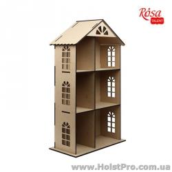 Заготовка для декупажа, Кукольный домик трехэтажный, МДФ, 70х41х20см