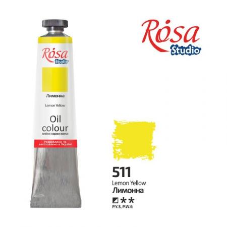 Купить краска масляная, Лимонная 60мл, ROSA Studio, краски для рисования