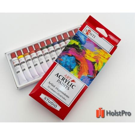 Набор акриловых красок, Santi Studio набор 12мл*12шт.