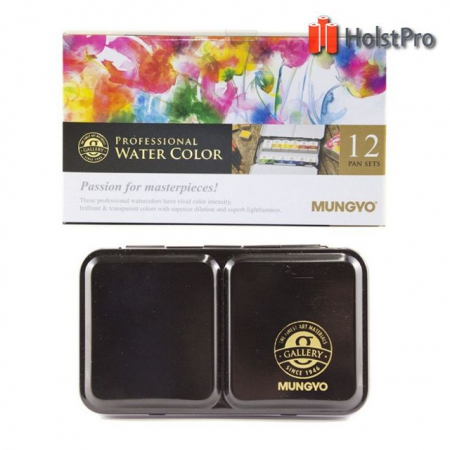 Набор акварельных красок GALLERY в металлическом пенале, 12 цветов, полу кюветы, MUNGYO