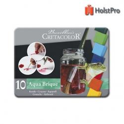 Акварельные краски, набор, Aqua Brique 10 цв + спонж, Cretacolor