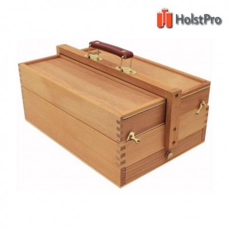 Пенал для художественных материалов, большой, деревянный,(36,5х23,5х14,8см)