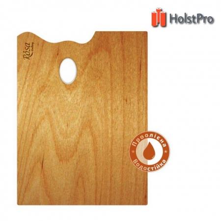 Палитра деревянная, прямоугольная, эргономичная, промасленная, 25*35см