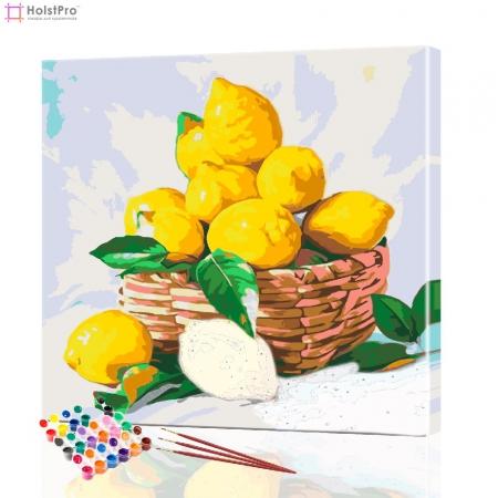 "Картина по номерам ""Корзина лимонов"" PBN0005, размер 30х30 см"