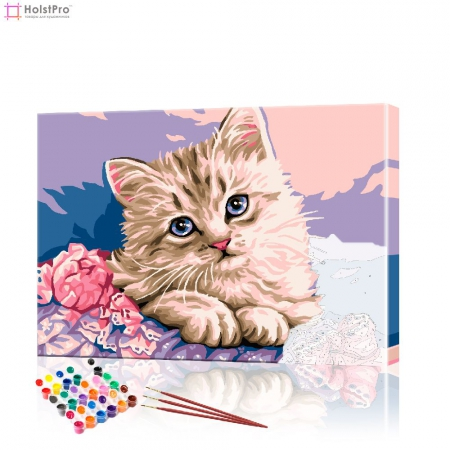 "Картина по номерам ""Котенок с цветами"" PBN0029, размер 30х40 см"
