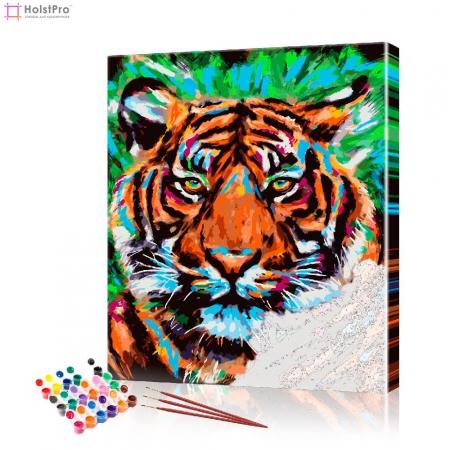"""Картина по номерам """"Тигр на зеленом"""" PBN0037, размер 30х40 см"""
