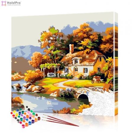 """Картина по номерам """"Дом у реки"""" PBN0759, размер 40х40 см"""