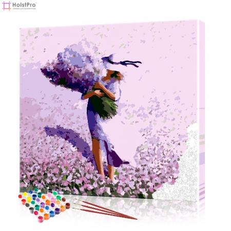 """Картина по номерам """"Девушка с полевыми цветами"""" PBN0791, размер 40х40 см"""