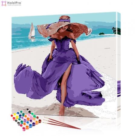 "Картина по номерам ""Красивая девушка на пляже"" PBN0793, размер 40х40 см"