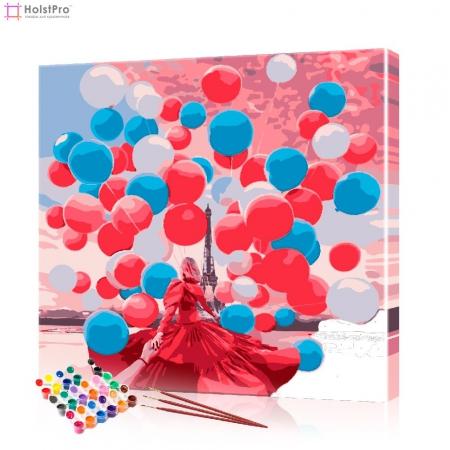 """Картина по номерам """"Воздушные шары в Париже"""" PBN0827, размер 40х40 см"""