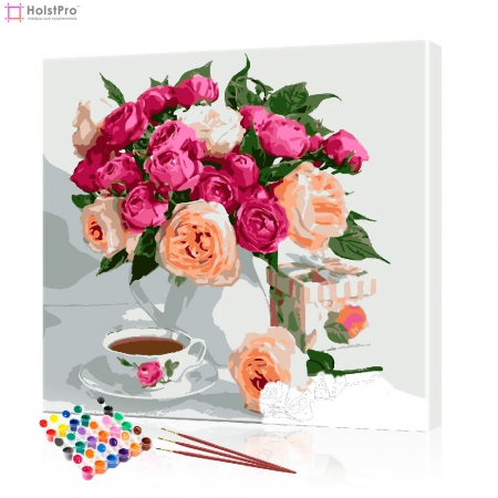 "Картина по номерам ""Розы в белой вазе"" PBN0887, размер 40х40 см"