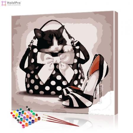 """Картина по номерам """"Кот в женской сумочке"""" PBN0909, размер 40х40 см"""