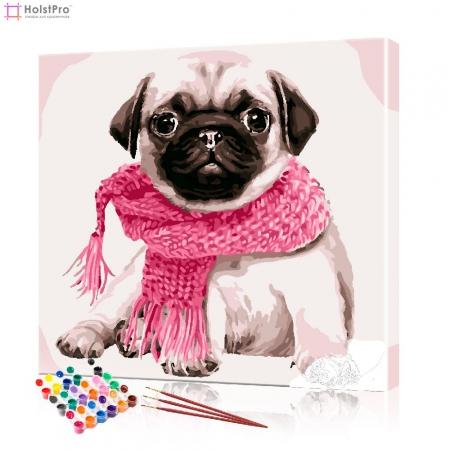 "Картина по номерам ""Мопс в розовом шарфе"" PBN0911, размер 40х40 см"