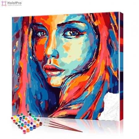 "Картина по номерам ""Поп-арт портрет девушки"" PBN0973, размер 40х40 см"
