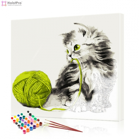 """Картина по номерам """"Котенок с зеленым клубком"""" PBN0040, размер 40х40 см"""