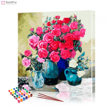 "Картина по номерам ""Натюрморт с розами"" PBN0074, размер 40х40 см"