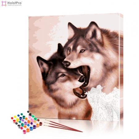 "Картина по номерам ""Пара волков"" PBN0082, размер 40х40 см"