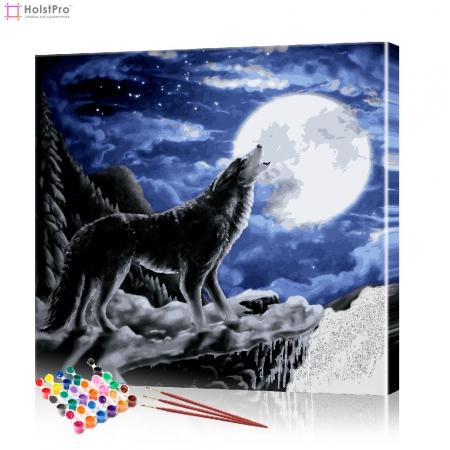 "Картина по номерам ""Волк воет на луну"" PBN0084, размер 40х40 см"