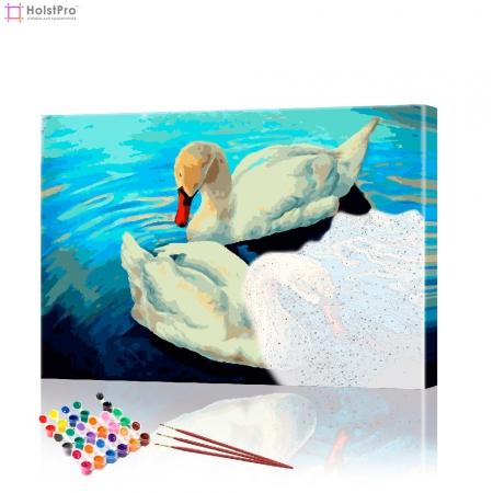 """Картина по номерам """"Белые лебеди"""" PBN0090, размер 40х50 см"""