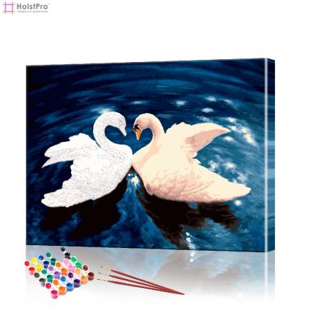 """Картина по номерам """"Влюбленные лебеди"""" PBN0110, размер 40х50 см"""