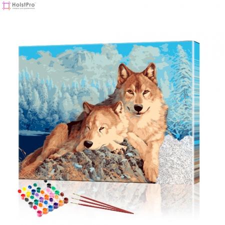 """Картина по номерам """"Пара волков на вершине"""" PBN0170, размер 40х50 см"""