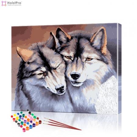 """Картина по номерам """"Влюбленная пара волков"""" PBN0172, размер 40х50 см"""