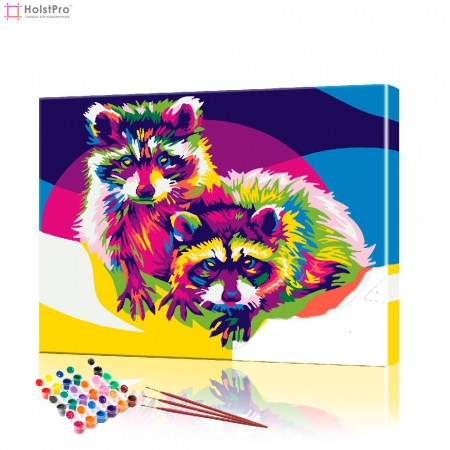 "Картина по номерам ""Пара радужных енотов"" PBN0279, размер 40х50 см"