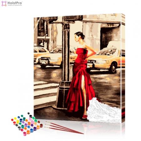 """Картина по номерам """"Дама в красном платье"""" PBN0285, размер 40х50 см"""