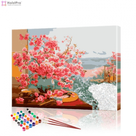 "Картина по номерам ""Букет сакуры на окне"" PBN0293, размер 40х50 см"