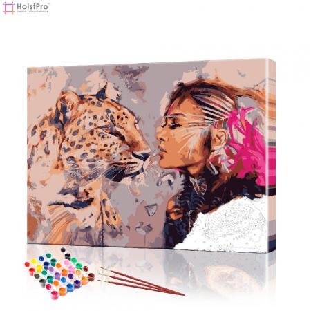 "Картина по номерам ""Девушка и ягуар"" PBN0297, размер 40х50 см"