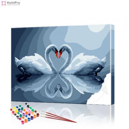 """Картина по номерам """"Влюбленные лебеди"""" PBN0493, размер 40х50 см"""