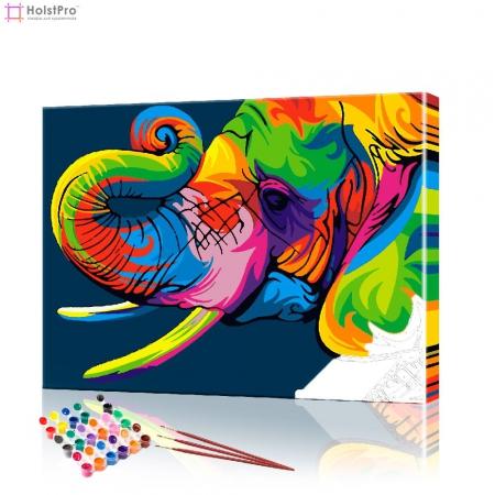 """Картина по номерам """"Цветной слон"""" PBN0517, размер 40х50 см"""