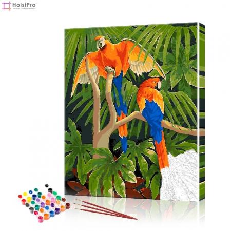 """Картина по номерам """"Попугаи на ветвях"""" PBN0717, размер 40х50 см"""