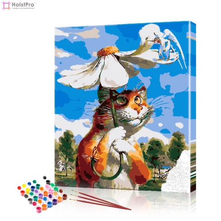 "Картина по номерам ""Кот под ромашкой"" PBN0601, размер 40х50 см"