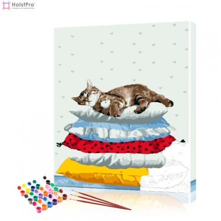 "Картина по номерам ""Кот на подушках"" PBN0833, размер 40х50 см"