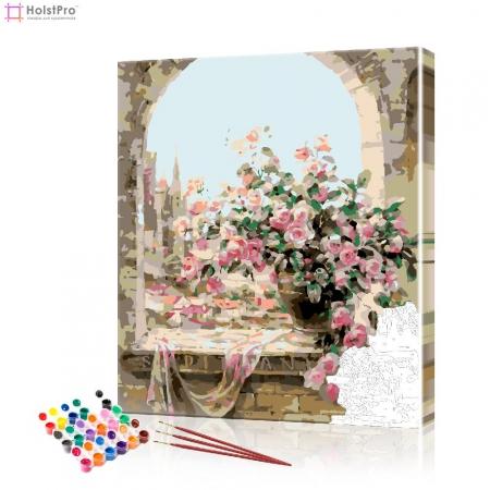 "Картина по номерам ""Букет роз на окне"" PBN0753, размер 40х50 см"