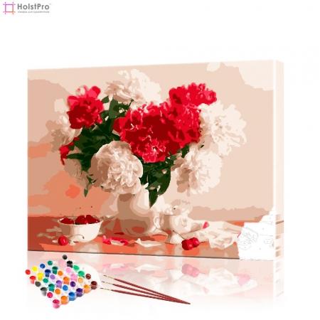 """Картина по номерам """"Красные и белые пионы"""" PBN0995, размер 40х50 см"""