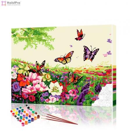 """Картина по номерам """"Бабочки над цветами"""" PBN0545, размер 40х50 см"""