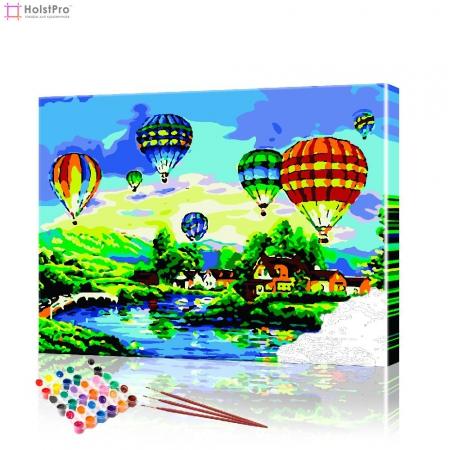 """Картина по номерам """"Воздушные шары над деревней"""" PBN0603, размер 40х50 см"""