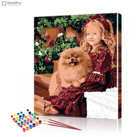 "Картина по номерам ""Малышка с собакой"" PBN0781, размер 40х50 см"