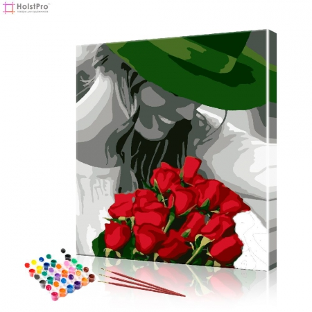 "Картина по номерам ""Девушка с розами"" PBN0947, размер 40х50 см"