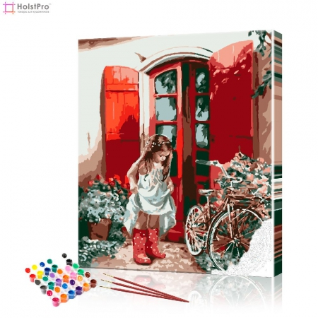 """Картина по номерам """"Девочка в красных сапожках"""" PBN0961, размер 40х50 см"""