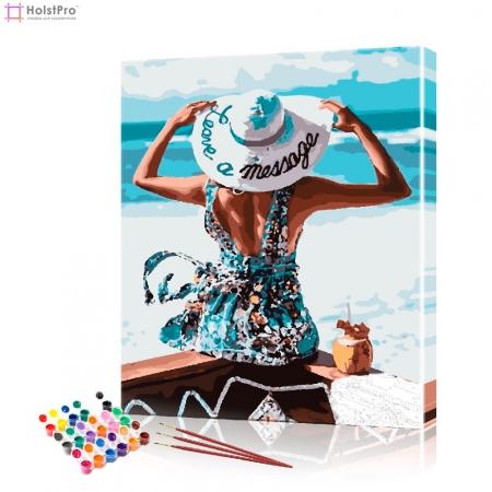 """Картина по номерам """"Дама на берегу"""" PBN0971, размер 40х50 см"""
