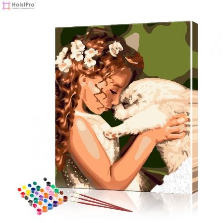 """Картина по номерам """"Девочка с собакой"""" PBN1003, размер 40х50 см"""