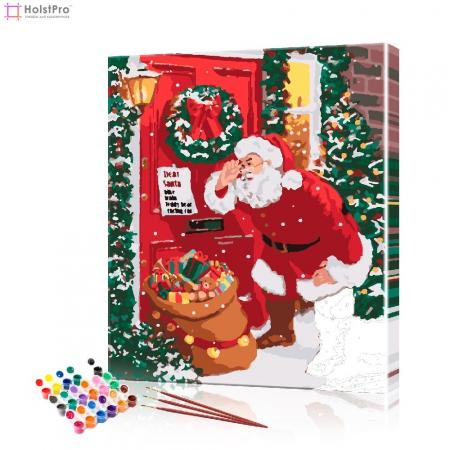 """Картина по номерам """"Санта у двери"""" PBN1017, размер 40х50 см"""
