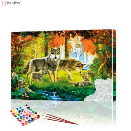 """Картина по номерам """"Семья волков"""" PBN0214, размер 40х60 см"""