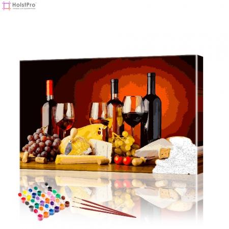 "Картина по номерам ""Вино и сыр"" PBN0361, размер 40х60 см"