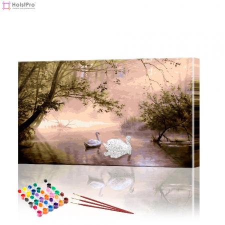 """Картина по номерам """"Лебеди на лесном пруду"""" PBN0237, размер 40х70 см"""