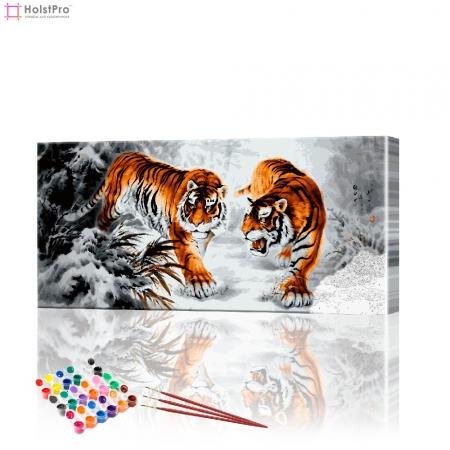 "Картина по номерам ""Тигры на охоте"" PBN0270, размер 40х90 см"